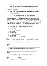 English Worksheet: KING ARTHUR AND THE ENCHANTED SWORD ACTIVITIES