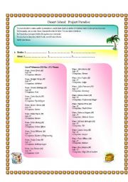English Worksheet: DESERT ISLAND - SPEAKING  (timesaver)