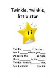 English Worksheet: Twinkle, twinkle, little star - fill in missing gaps