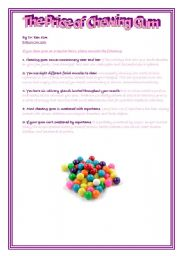 English Worksheets: The price of chewing bubble gum