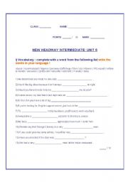 English Worksheet: New New Headway Intermediate Unit 6 TEST ( verb patterns) 3 pages