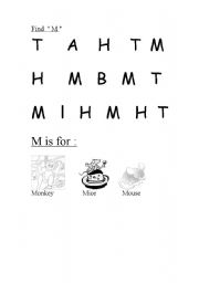 English Worksheets: Find the letter M