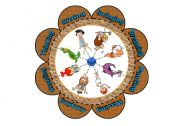 English Worksheet: Verb Flower Puzzle with the Flintstones (16 piece puzzle with 8 verbs)