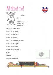 English worksheet: All about me girl Identity
