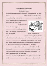 English Worksheet: Gerunds and Infinitives - Fred´s exam stress.