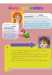 English Worksheets: analyzing characters