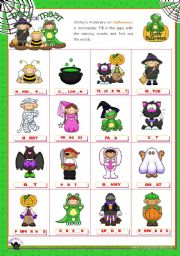 English Worksheet: Halloween Set (2)  - Completing the Pictionary with the missing vowels