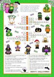 Halloween Set (3)  - Crossword Puzzle for Upper Elementary and Lower Intermediate Students.