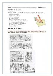 English Worksheets: Writing test Elementary