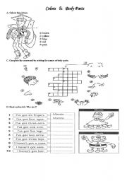 English Worksheets: colors and body parts
