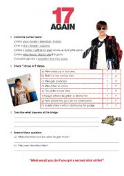 English Worksheet: 17 again - Movie activity