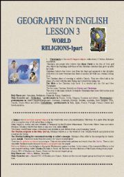 English Worksheets: GEOGRAPHY IN ENGLISH-WORLD RELIGIONS 1part
