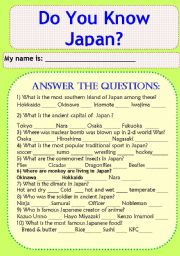 English Worksheet: Do You Know Japan? Answer the Questions.