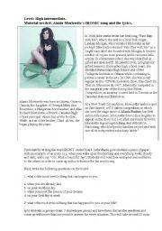 English Worksheet: Alanis Morissette�s IRONIC