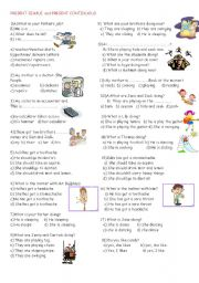 English worksheet: present continuous and present simple tense