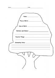 English Worksheets: My tree