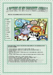 English Worksheets: A PICTURE OF MY FAVOURITE ANIMALS