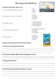 English Worksheets: The Mayflower