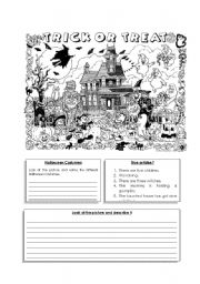 English Worksheet: Halloween Picture Description