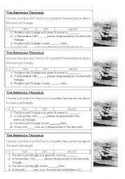 English Worksheet: Bermuda Triangle Number sheet