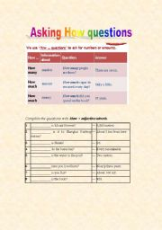 English Worksheets: asking How questions (2)