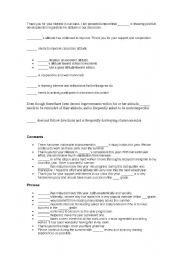 English Worksheets: comments for report cards