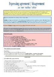English Worksheets: Expressing agreement / disagreement
