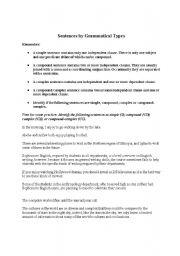 English Worksheets: Sentence Types explained and exercises