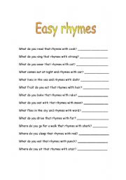Worksheets Sentences With Rhyming Words For Kids sentences with rhyming words for kids rupsucks printables worksheets english teaching easy rhymes