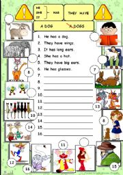 English Worksheet: He, she, it, they, have, has