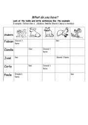 English Worksheets: What do you have?