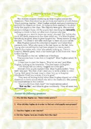 English Worksheets: New Teacher (Comprehension Passage)