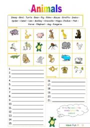 English Worksheets: Worksheet Animals