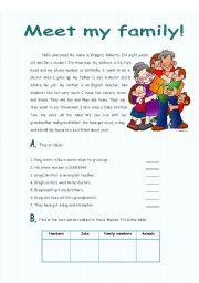 English Worksheet: Reading - meet my family