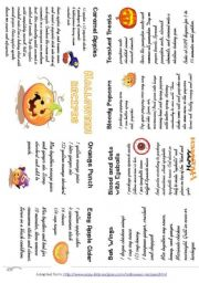 English Worksheet: HALLOWEEN RECIPES, minibook