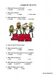 English Worksheets: ALIENS IN THE ATTIC 15 FIRST  MINUTES
