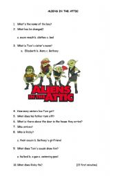 English Worksheet: ALIENS IN THE ATTIC (15-30 MINUTES)
