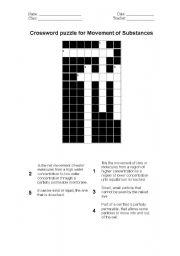 Diffusion and osmosis crossword worksheet answers