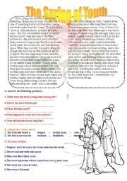 English Worksheets: the secret of youth