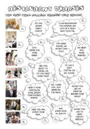 English Worksheets: RESTAURANT PHRASES