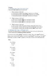 English worksheet: simple grammar test