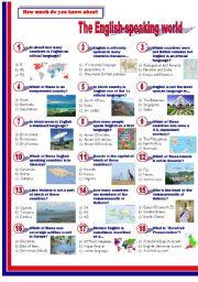 English Worksheet: The English-speaking World-Quiz