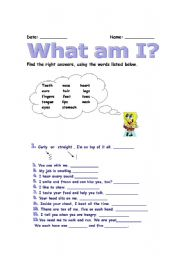 English Worksheets: What am I ?