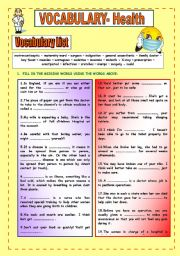 English Worksheets: Health Vocabulary and Exercises