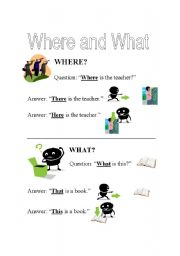 English Worksheets: Where and What?