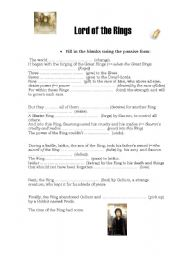 English Worksheet: Lord of the rings