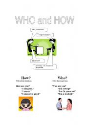 English Worksheets: Who and How