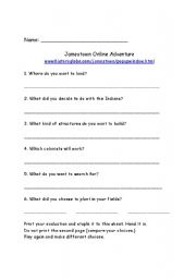 Printables Jamestown Worksheet printables jamestown worksheet safarmediapps worksheets english online adventure adventure