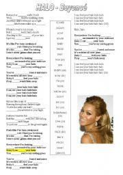 English Worksheet: halo - beyoncé