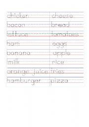 English Worksheets:  food  writing
